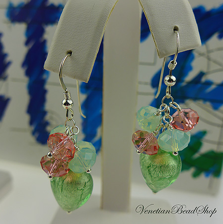 Swarovski and Murano Glass Heart Earrings Free Design