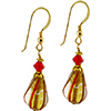 Red Striped Tear Drop Earring