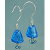Aqua Silver Foil Triangle Earrings