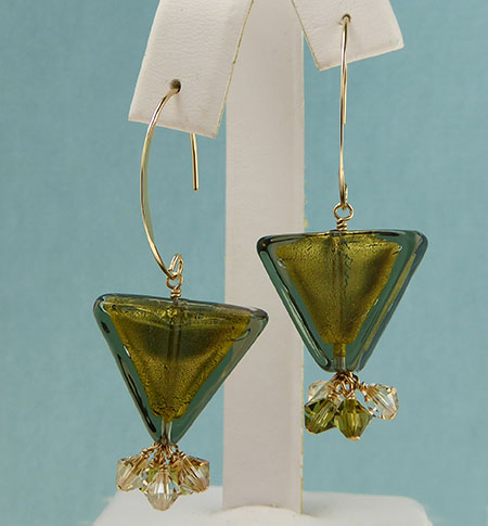 Olivine Triangle Earrings Free Design Instructions