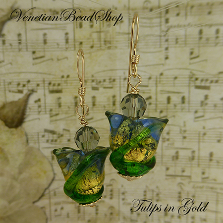 Blue and Gold Tulip Earrings