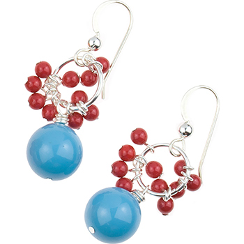 Swarovski Turquoise and Coral Dangle Earrings Design