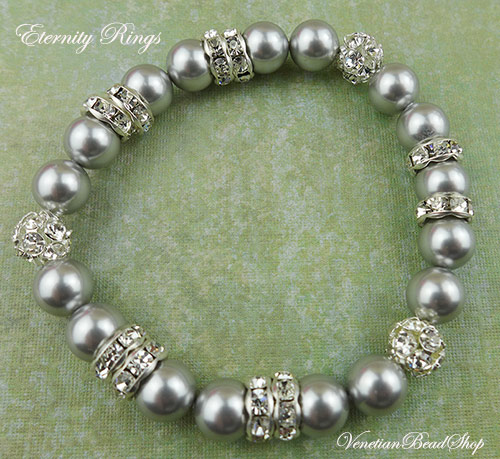Pearls and Crystals Stretch Bracelet, Great for Wedding Jewelry