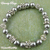 Gray Pearls & Crystals Stretch Bracelet