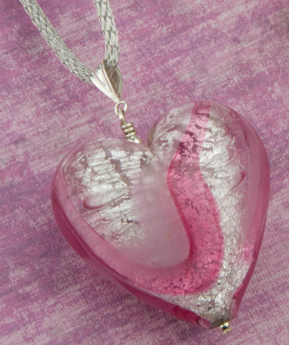 Pink and White Gold Swirl Heart Pendant Necklace