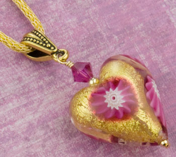 Free Design and Instructions for this Pink Millefiori Heart Pendant