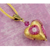 Pink and Gold Millefiori Heart