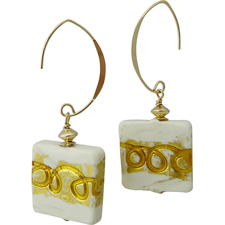 White and Gold Squares Earring Design
