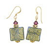 Blue Gold Foil Squares Earrings