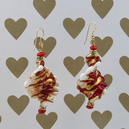Red and Gold Twist Earrings Design