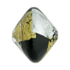 Vicenza Black w/Gold & Silver Foil Murano Glass Bead, 22mm Bicone