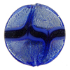 Murano Glass Bead Disc 20mm Blue over White Gold Foil with Aventurina Sash
