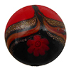 Avventurina Swirls with Millefiori over Red and Black Disc 16, Murano Glass Bead