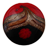 Avventurina Swirls with Millefiori over Red and Black Disc 22mm, Murano Glass Bead