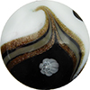Avventurina Swirls with Millefiori over White and Black Disc 30mm, Murano Glass Bead