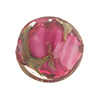Murano Glass Bead, Base,Rubino Pink with Aventurina and Calcedonia Disc 23mm