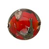 Murano Glass Bead, Base Red with Aventurina and Calcedonia Disc 23mm