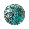 Light Verde Marino with White Gold Foil Ca'd'Oro Lentil Bead, 14mm Murano Glass Bead
