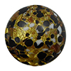 Black and White Cluseau over 24kt Gold Foil and Crystal Disc 16mm Murano Glass Bead