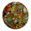 Multi Colors Cluseau over 24kt Gold Foil and Crystal Disc 16mm Murano Glass Bead