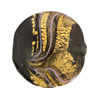 Murano Glass Bead Black Feather Disc 25mm Exterior Gold