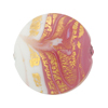 Murano Glass Bead Pink Feather Disc 25mm Exterior Gold
