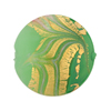 Murano Glass Bead Mint Green Feather Disc 25mm Exterior Gold