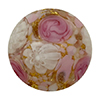 Pink Roses and White Lace over 24kt Gold Foil Murano Glass Disc Bead 16mm