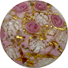 Pink Roses and White Lace over 24kt Gold Foil Murano Glass Disc Bead 30mm