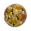 Maroon & Ivory Bed of Roses Disc 25mm Venetian Glass Bead