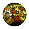 Murano Glass Bead Bed of Roses Exterior Gold Foil Disc 24mm Black