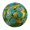 Murano Glass Bead Bed of Roses Exterior Gold Foil Disc 24mm Verde Marino