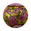 Murano Glass Bead Bed of Roses Exterior Gold Foil Disc 24mm Opaque Pink