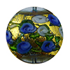 Murano Glass Bead Bed of Roses Exterior Gold Foil Disc 24mm Blue