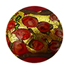 Murano Glass Bead Bed of Roses Exterior Gold Foil Disc 24mm Opaque Red