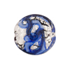 Blue and Blue Aventurina Silver Foil Galaxy, 20mm Disc, Murano Glass Bead