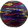 Exterior Gold Lines Disc 30mm Bluino and Rubino, Venetian Glass Bead