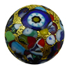 KLIMT Multi Mosaics with Black Base & Exterior 24kt Gold Foil Disc 16mm Murano Glass Bead