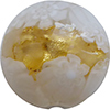 Venetian Glass Lace Bead Clear Base, White Lace Murrine, Exterior 24kt Gold Foil Disc 16mm