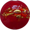 Venetian Glass Lace Clear Base, Red Lace Murrine, Exterior 24kt Gold Foil Disc 16mm