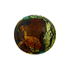 Murano Glass Bead Multi Gold Foil, Green Disc 20mm Machiavelli Line