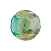 Sea Green and Gray with Aventurina and 24kt Gold Foil Mare Disc 20mm Murano Glass Bead