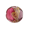 Purple and Pink with Aventurina and 24kt Gold Foil Mare Disc 20mm Murano Glass Bead