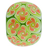 Murano Glass Lampwork Disc 25mm Green with Coral Flowers