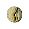 Black and White Filigrana 24kt Gold Foil Disc 18mm Murano Glass Bead