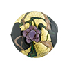Murano Glass Bead Peony Lampwork Disc 23mm Black and Purple with 24kt Gold Foil