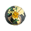 Murano Glass Bead Peony Lampwork Disc 23mm Black and Yellow with 24kt Gold Foil