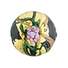 Murano Glass Bead Peony Lampwork Disc 23mm Black and Pink with 24kt Gold Foil