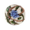 Murano Glass Bead Peony Lampwork Disc 23mm White and Blue