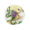Murano Glass Bead Peony Lampwork Disc 23mm White and Purple with 24kt Gold Foil